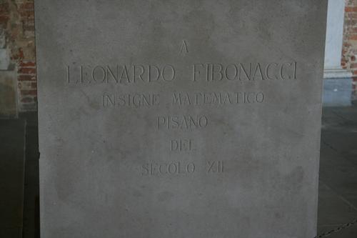 [Picture: Statue of Leonardo Fibonacci 4: inscription]