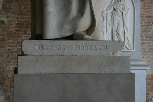 [Picture: Statue of Leonardo Fibonacci 5: pedimental inscription]