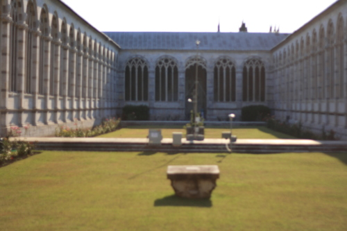 [Picture: Blurry cloistered quadrangle]