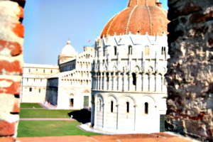 [picture: Baptistry and Cathedral through Embrasure 1]