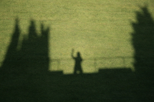 [Picture: Waving from the city wall 1]