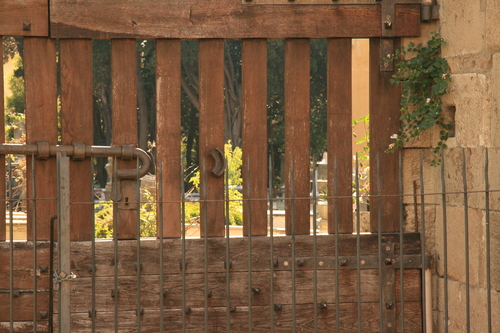 [Picture: Jewish Cemetary 38: through the gate 1]