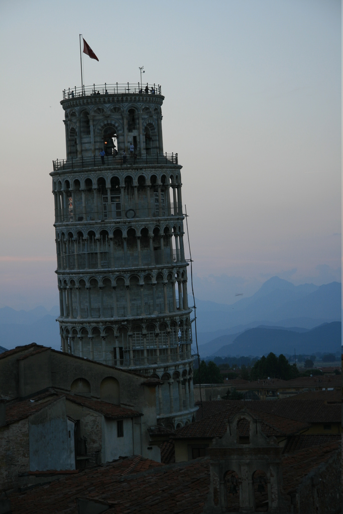 [Picture: View from the Hotel Balcony 6: Evening Tower of Pisa]