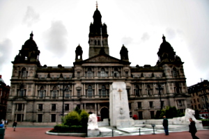 [picture: George Square 3: City hall and cenotaph]