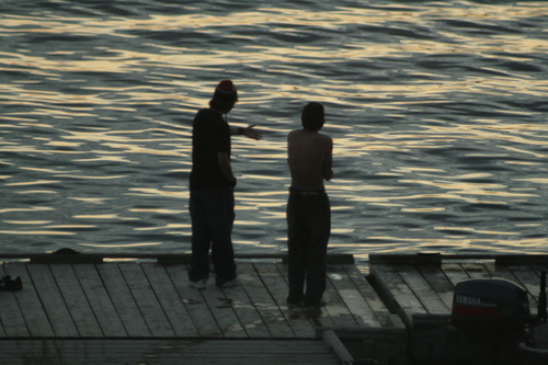 [Picture: Youths on the dock 1]