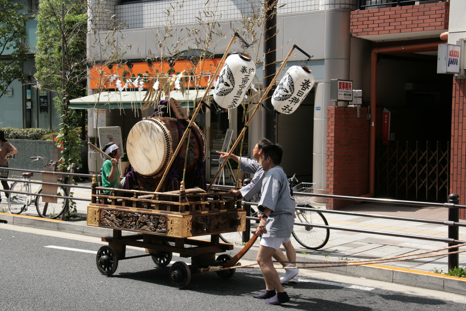 [Picture: Over there!  The drum cart.]