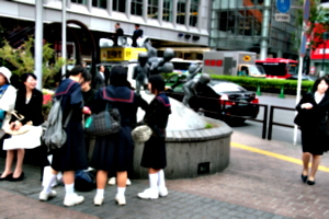[picture: Big square 14: Schoolgirls by the statue]