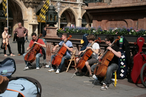 [Picture: Busking Cellists 1]