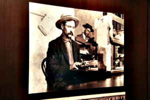 [picture: Cowboy with typewriter]