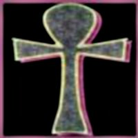 [picture: Granite ankh with neon pink lighting and a black background]